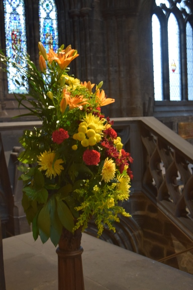 Fresh flowers inside the Glasgow Cathedral