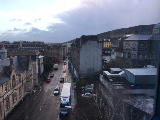View from outside my flat at dawn. Arthur's seat on the right